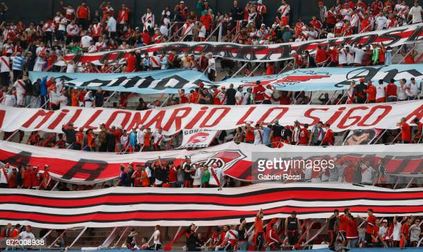Fans of River Plate cheer for their team prior a match between River Plate and Sarmiento as part of Torneo Primera Division 2016/17 at Monumental...