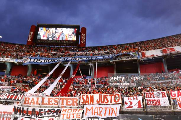 Fans of River Plate cheer for their team prior a match between River Plate and Rosario Central as part of Torneo Primera Division 2016/17 at...