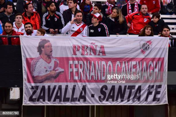 Fans of River Plate display banners during Fernando Cavenaghi's farewell match at Monumental Stadium on July 01 2017 in Buenos Aires Argentina