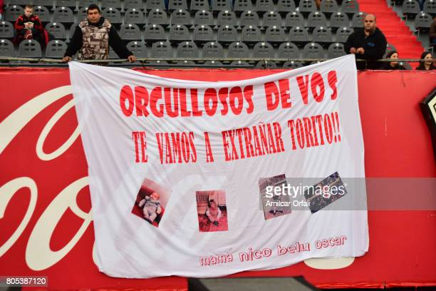 Fans of River Plate during Fernando Cavenaghi's farewell match at Monumental Stadium on July 01 2017 in Buenos Aires Argentina