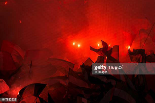 Fans of Rotterdam are seen during the UEFA Champions League match between Feyenoord Rotterdam and Manchester City at Stadion Feijenoord on September...