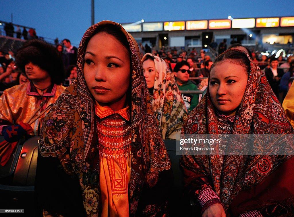 Fans of Ruslan Provodnikov, of Russia, dressed in their Russian traditional dress wait for the start of the WBO welterweight title boxing match between Provodnikov and champion Timothy Bradley at The Home Depot Center on March 16, 2013 in Carson, California. Bradley won in a narrow unanimous decision over Provodnikov to defend his WBO welterweight belt.