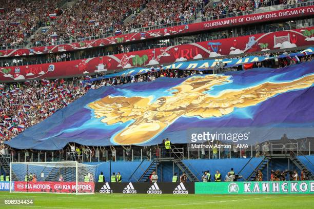 Fans of Russia hold up a flag during the Group A FIFA Confederations Cup Russia 2017 match between Russia and New Zealand at Saint Petersburg Stadium...