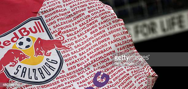 Fans of Salzburg wave a flag during the tipp3 Bundesliga match between Red Bull Salzburg and SC Wiener Neustadt at Red Bull Arena on March 23 2014 in...