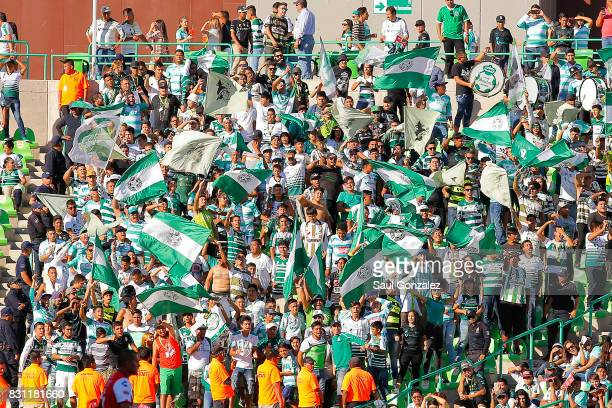 Fans of Santos Laguna cheer their team during the 4th round match between Santos Laguna and Veracruz as part of the Torneo Apertura 2017 Liga MX on...