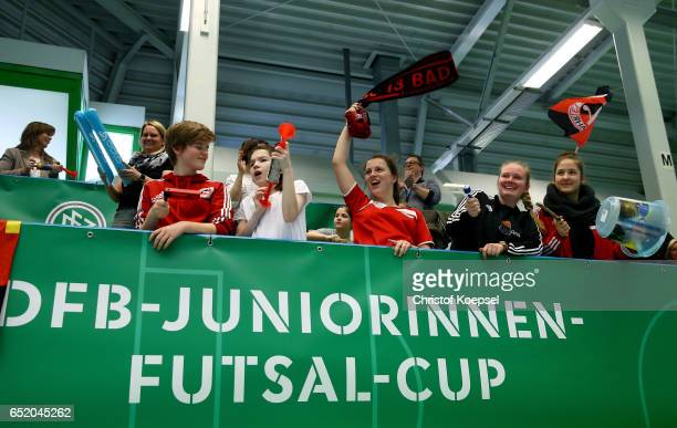 Fans of SC Bad Neunahr celebrate their team during the C Junior Girl's German Futsal Championship at Bayer Hall on March 11 2017 in Wuppertal Germany