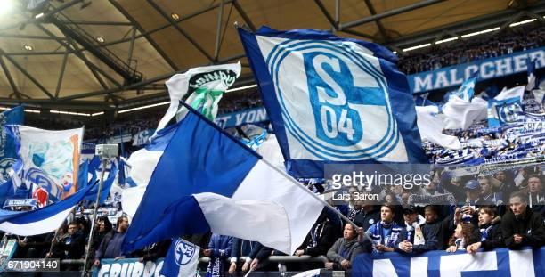 Fans of Schalke are seen during the Bundesliga match between FC Schalke 04 and RB Leipzig at VeltinsArena on April 23 2017 in Gelsenkirchen Germany