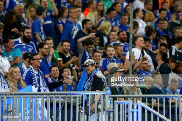 Fans of Schalke celebrate during the 20 years of Eurofighter match between Eurofighter and Friends and Euro All Stars at Veltins Arena on May 21 2017...
