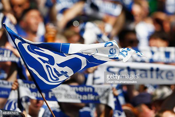 Fans of Schalke cheer and wave flags in support of their team during the Bundesliga match between FC Schalke 04 and SV Darmstadt 98 held at...