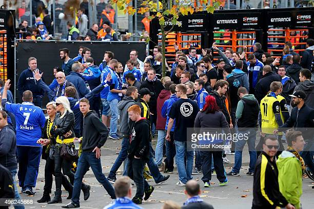 Fans of Schalke on the way to the stadium prior to the Bundesliga match between Borussia Dortmund and FC Schalke 04 at Signal Iduna Park on November...