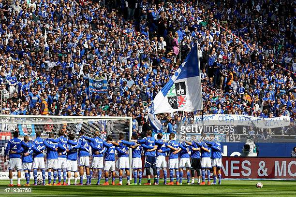 Fans of Schalke show a banner prior to the Bundesliga match between FC Schalke 04 and VfB Stuttgart at Veltins Arena on May 2 2015 in Gelsenkirchen...