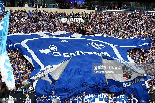 Fans of Schalke wave flags during the Bundesliga match between FC Schalke 04 and 1 FC Koeln at VeltinsArena on October 4 2015 in Gelsenkirchen Germany