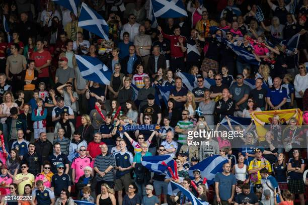 Fans of Scotland prior the UEFA Women's Euro 2017 Group D match between Scotland v Portugal at Sparta Stadion on July 23 2017 in Rotterdam Netherlands