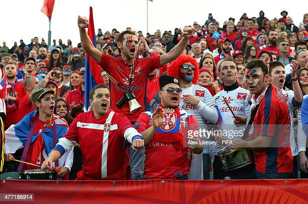 Fans of Serbia show their support during the FIFA U20 World Cup Quarter Final match between USA and Serbia at the North Harbour Stadium on June 14...