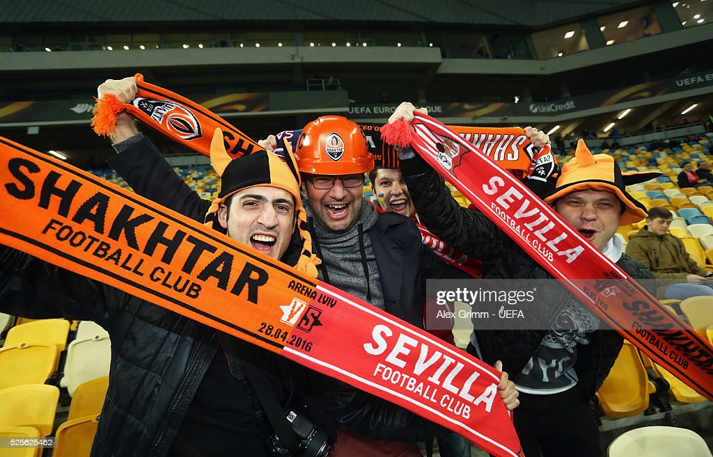 Fans of Shakhtar pose before the UEFA Europa League Semi Final first leg match between Shakhtar Donetsk and Sevilla at Arena Lviv on April 28, 2016 in Lviv, Ukraine.