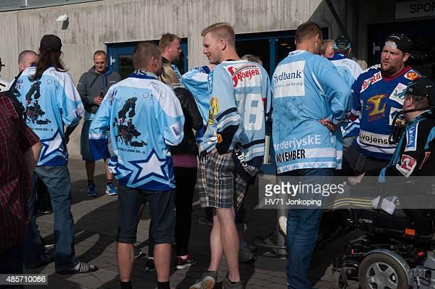 Fans of Sonderjyske during the Champions Hockey League group stage game between HV71 Jonkoping and SonderjyskE Vojens on August 29 2015 in Jonkoping...