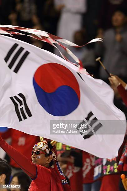 Fans of South Korea with a national flag during the AFC U23 Championship semi final match between South Korea v Qatar at the Abdullah Bin Khalifa...