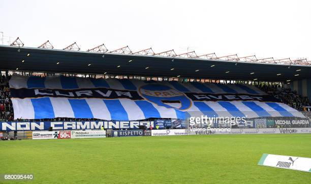 Fans of SPAL display a giant banner during the Serie B match between SPAL and FC Pro Vercelli at Stadio Paolo Mazza on May 7 2017 in Ferrara Italy