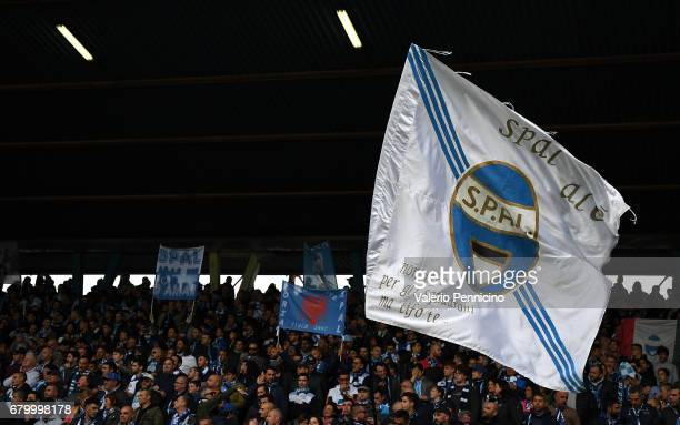 Fans of SPAL show their support during the Serie B match between SPAL and FC Pro Vercelli at Stadio Paolo Mazza on May 7 2017 in Ferrara Italy