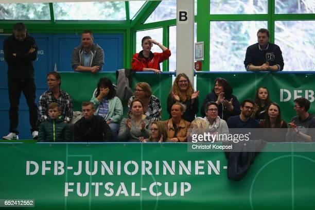 Fans of Sportfreunde Siegen support their team during the B Junior Girl's German Futsal Championship first round match between Magdeburger FFC and...