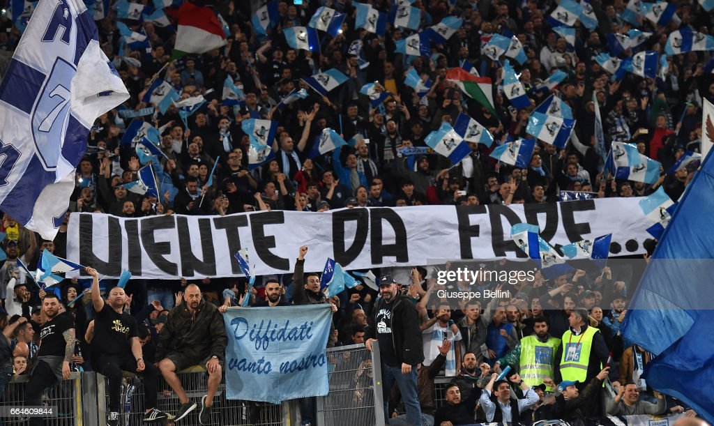Fans of SS Lazio celebrate the victory after the TIM Cup match between AS Roma and SS Lazio at Stadio Olimpico on April 4, 2017 in Rome, Italy.