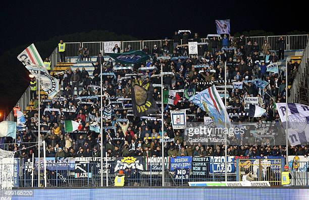 Fans of SS Lazio during the Serie A match between Empoli FC and SS Lazio at Stadio Carlo Castellani on November 29 2015 in Empoli Italy