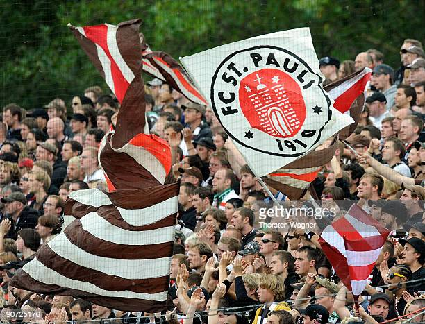 Fans of St Pauli celebrate during the 2 Bundesliga match between FSV Frankfurt and FC St Pauli at the Volksbank stadium on September 13 2009 in...