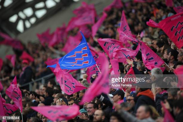 Fans of Stade Francais during the European Challenge Cup semi final between Stade Francais and Bath on April 23 2017 in Paris France