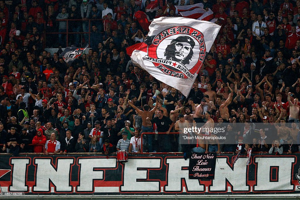 Fans of Standard Liege cheer sing and show their support during the UEFA Europa League play off round second leg match between Standard Liege and...