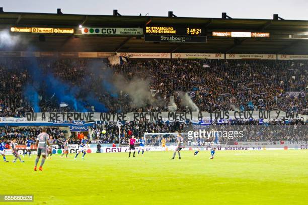 fans of Strasbourg during the Ligue 2 match between RC Strasbourg Alsace and Bourg en Bresse on May 19 2017 in Strasbourg France