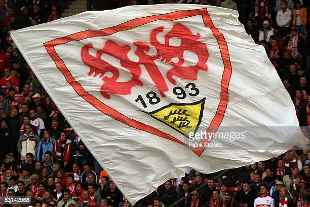 Fans of Stuttgart are pictured during the Bundesliga match between VfB Stuttgart and Werder Bremen at the MercedesBenz Arena on October 4 2008 in...