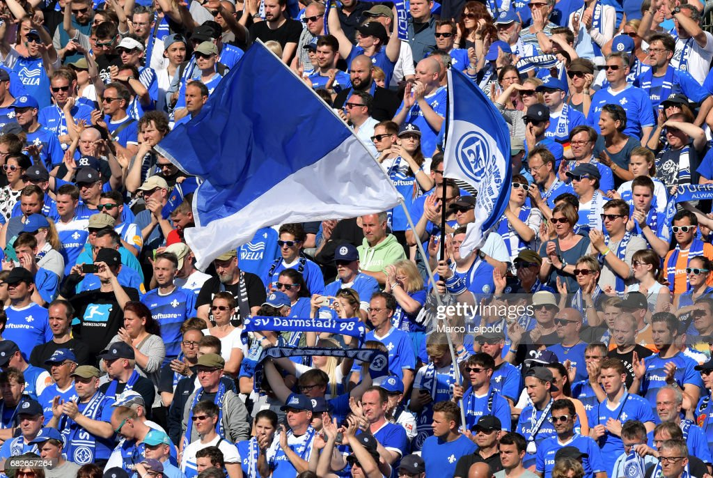 fans of SV Darmstadt 98 after the game between SV Darmstadt 98 and Hertha BSC on may 13, 2017 in Darmstadt, Germany.