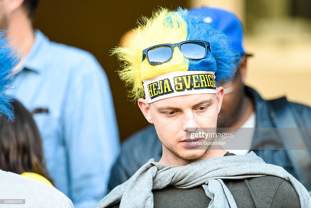 Fans of Sweden during the international friendly match between Sweden and Slovenia May 30, 2016 in Malmo, Sweden.