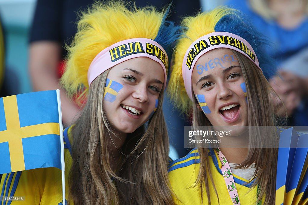Fans of Sweden pose prior to the UEFA Women's EURO 2013 Group A match between Sweden and Denmark at Gamla Ullevi Stadium on July 10, 2013 in Gothenburg, Sweden.