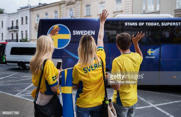 Fans of Sweden waves goodbye to players bus and players as they leave Lublin following the Swedish U21 national team at IBB Grand Hotel Lublinianka...