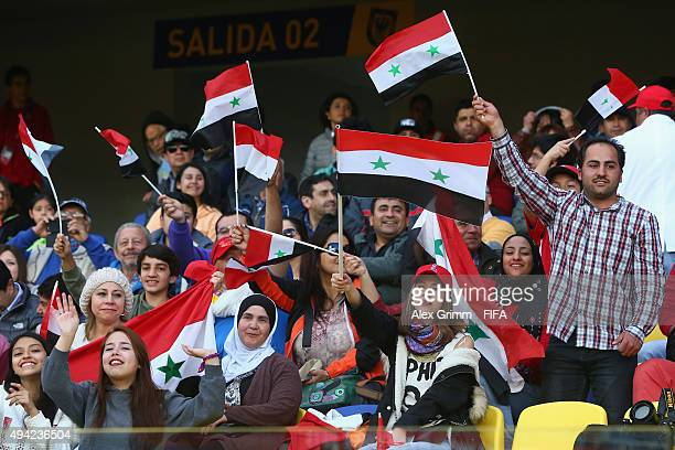 Fans of Syria cheer during the FIFA U17 World Cup Chile 2015 Group F match between France and Syria at Estadio Municipal de Concepcion on October 25...