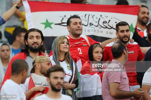 Fans of Syria show their support during FIFA 2018 World Cup Qualifier match between Iran and Syria on September 5 2017 in Tehran Iran
