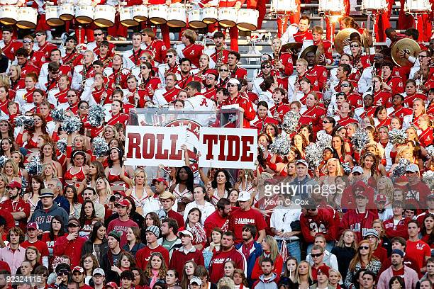 Fans of the Alabama Crimson Tide cheer against the Tennessee Volunteers at BryantDenny Stadium on October 24 2009 in Tuscaloosa Alabama