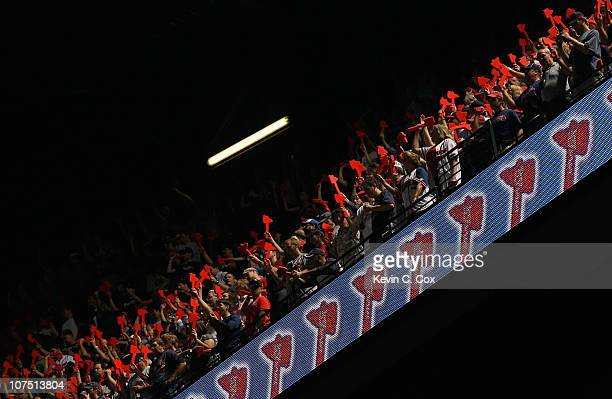 Fans of the Atlanta Braves cheer against the San Francisco Giants during Game Four of the NLDS of the 2010 MLB Playoffs at Turner Field on October 11...