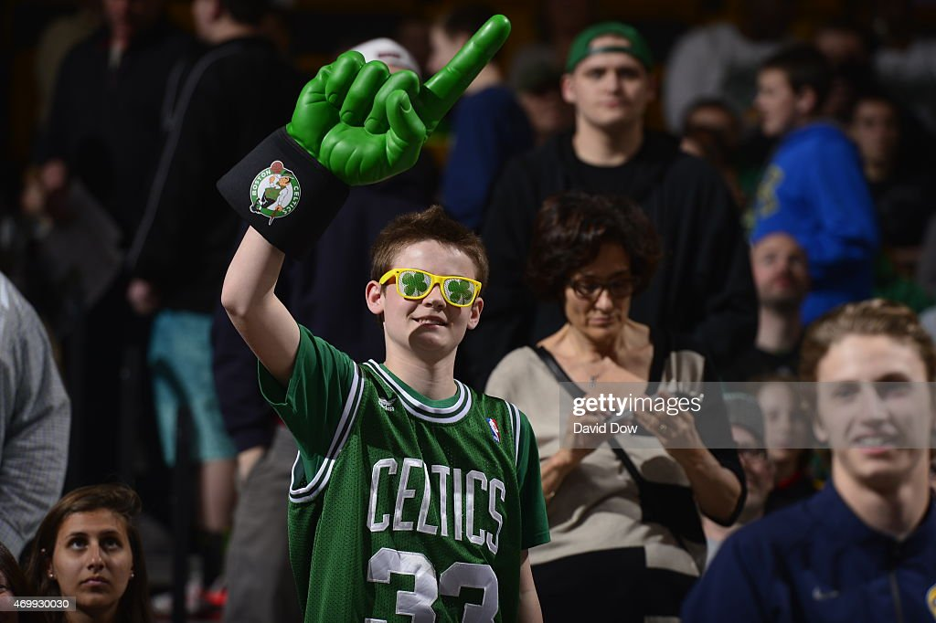 Fans of the Boston Celtics watch a game against the Cleveland Cavaliers on April 12, 2015 at the TD Garden in Boston, Massachusetts.