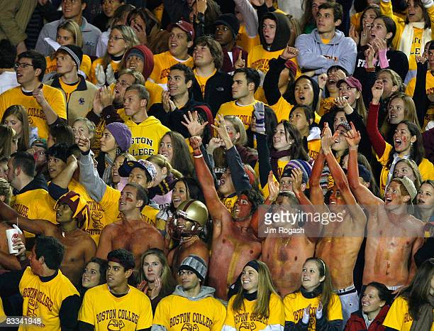Fans of the Boston College Eagles show their support against the Virginia Tech Hokies on October 18 2008 at Alumni Stadium in Chestnut Hill...