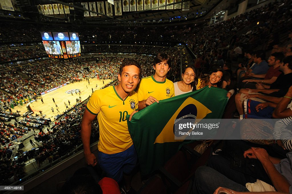 Fans of the Brazil National Team cheers on against the US National team on August 16, 2014 at the United Center in Chicago, Illinois.