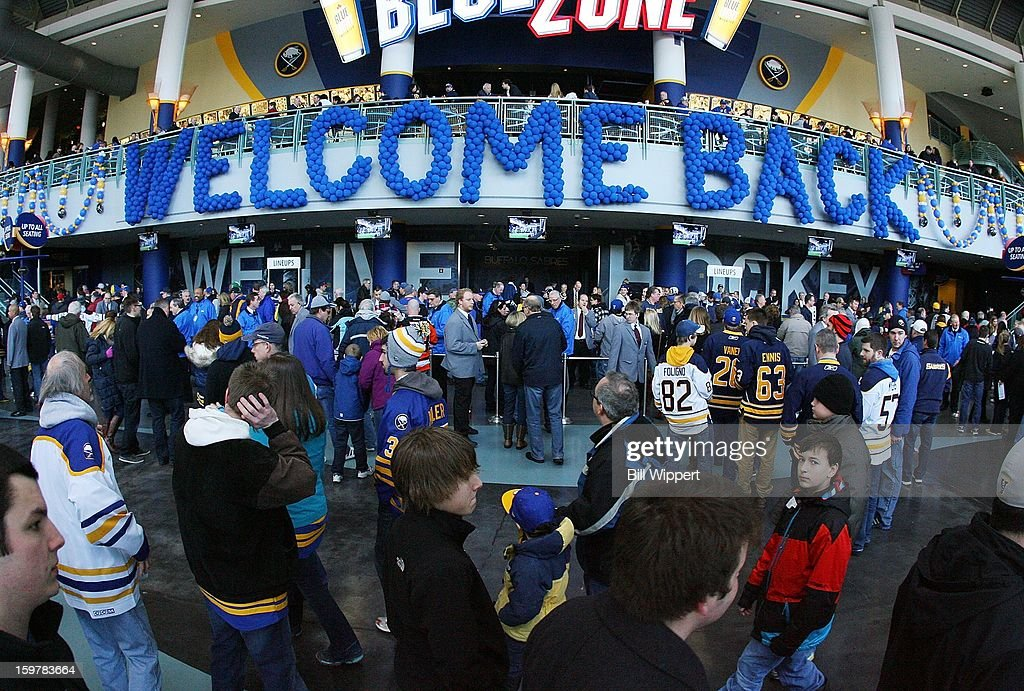 Fans of the Buffalo Sabres are welcomed to the arena before the first game of the season against the Philadelphia Flyers on January 20, 2013 at the First Niagara Center in Buffalo, New York.