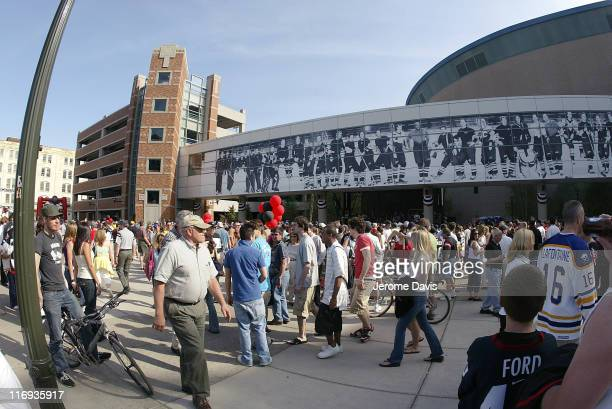 Fans of the Buffalo Sabres enjoy a pregame party before game 3 of the Eastern Conference Semifinals versus the Ottawa Senators at the HSBC Arena in...