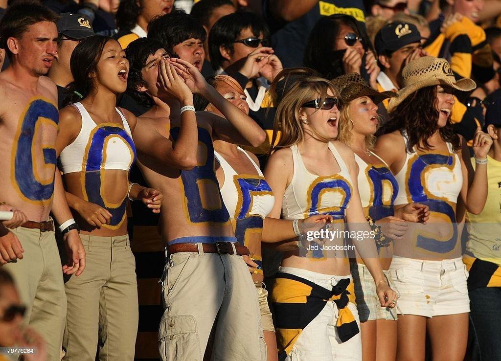 Fans of the California Golden Bears cheer against the Louisiana Tech Bulldogs during an NCAA football game on September 15 2007 at Memorial Stadium...