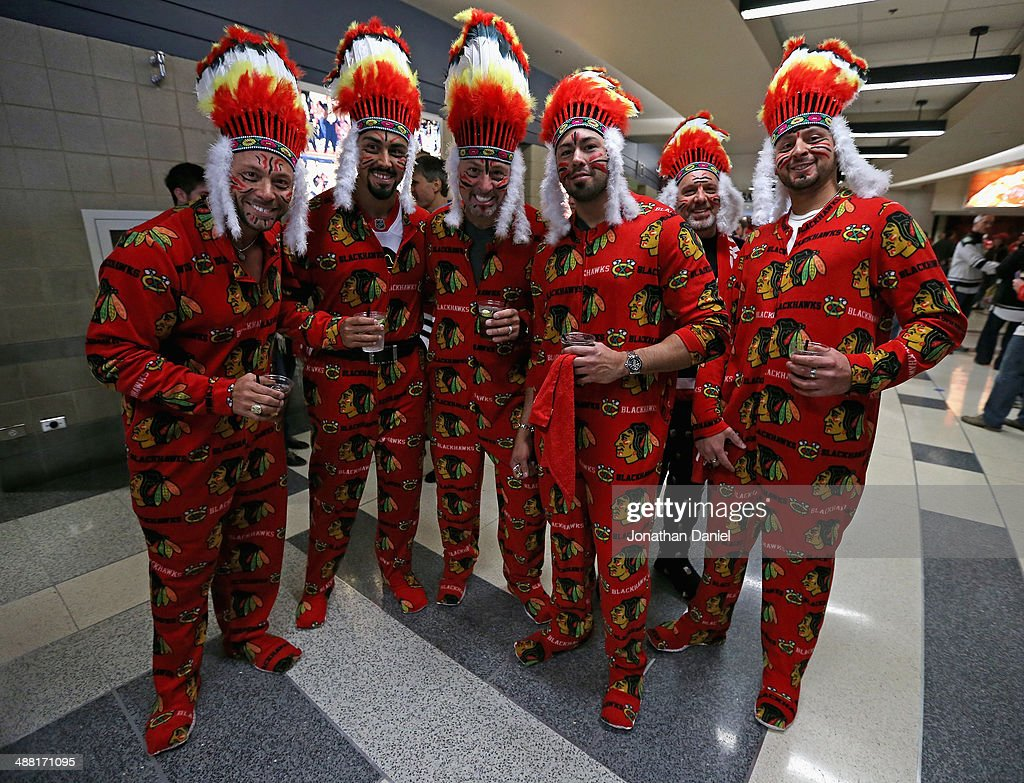 Fans of the Chicago Blackhawks are dressed up for Game Two of the Second Round of the 2014 NHL Stanley Cup Playoffs against the Minnesota Wild at the United Center on May 4, 2014 in Chicago, Illinois.