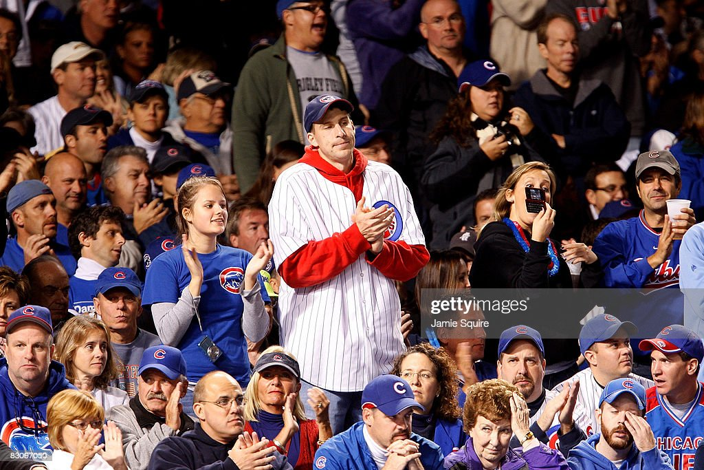 Fans of the Chicago Cubs look on against the Los Angeles Dodgers in Game Two of the NLDS during the 2008 MLB Playoffs at Wrigley Field on October 2, 2008 in Chicago, Illinois.