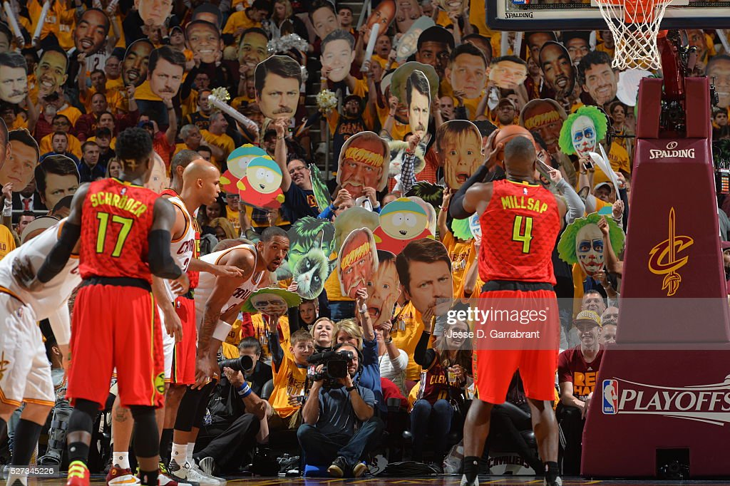 Fans of the Cleveland Cavaliers attempt to distract players against the Atlanta Hawks during the Eastern Conference Semifinals Game One on May 2, 2016 at The Quicken Loans Arena in Cleveland, Ohio.