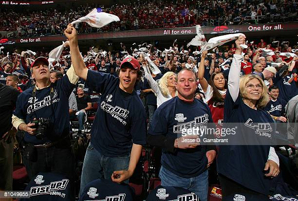 Fans of the Cleveland Cavaliers cheer on their team against the Boston Celtics in Game Three of the 2008 NBA Eastern Conference Semifinals on May 10...