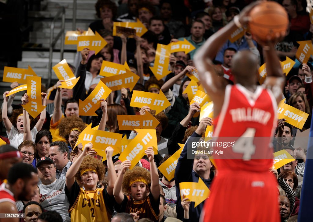 Fans of the Cleveland Cavaliers do their best to disrupt a free throw attempt by Anthony Tolliver #4 of the Atlanta Hawks at The Quicken Loans Arena on December 28, 2012 in Cleveland, Ohio.